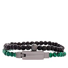Steve Madden Men's Beaded Bracelet 2-piece Set