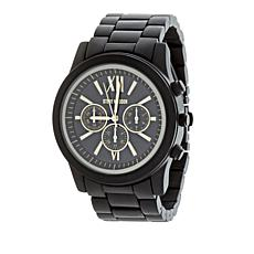 Steve Madden Men's Goldtone Matte Black Chronograph Bracelet Watch