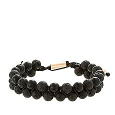 Steve Madden Men's Rosetone Lava and Glass Bead Cord Bracelet