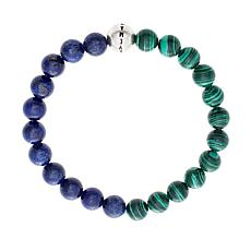 Steve Madden Men's Simulated Lapis and Malachite Bead Stretch Bracelet