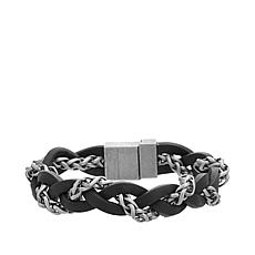 Steve Madden Men's Stainless Steel and Black Leather Braided Bracelet
