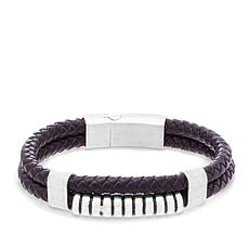 Steve Madden Men's Stainless Steel and Leather Bracelet