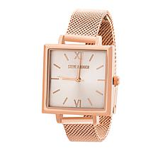 Steve Madden Women's Rosetone Square Dial Mesh Band Watch
