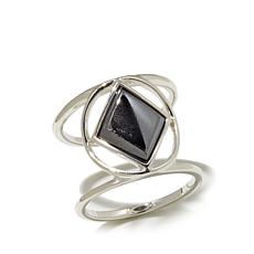 Studio Barse Hematite Sterling Silver Open Shank Ring