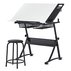 Studio Designs Fusion 2-Piece Black and White Drafting Table Stool Set