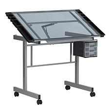 Studio Designs Vision Silver Mobile Drafting Table with Supply Storage