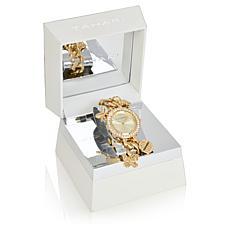 Tahari Goldtone Women's Crystal-Accented Charm Bracelet Watch