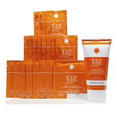 TanTowel® Dark 20pc Kit with Body Glow Self-Tanning Cream AS