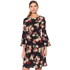 Tash + Sophie Printed Crepe Bishop Sleeve Dress