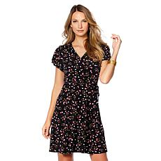 Tash + Sophie Puff Print Wrap Dress