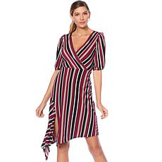 Tash + Sophie Striped V-Neck Dress with Asymmetric Hem