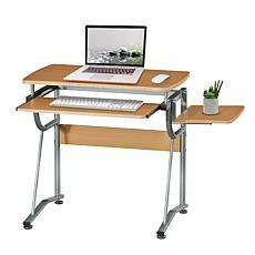 Techni Mobili Compact Computer Desk with Side Shelf and Keyboard Panel