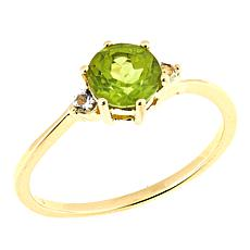 Technibond® 0.85ctw Round Peridot and White Topaz Ring