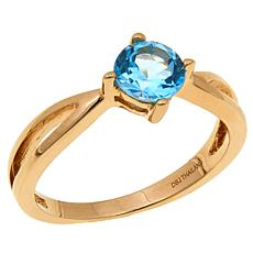 Technibond® 0.95ctw Swiss Blue Topaz Birthstone Ring