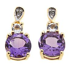 Technibond® Amethyst and White Topaz Diamond-Accented Drop Earrings
