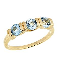 Technibond® Blue Topaz 3-Stone Band Ring