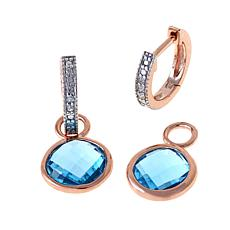 Technibond® Blue Topaz Diamond-Accented Drop Earrings