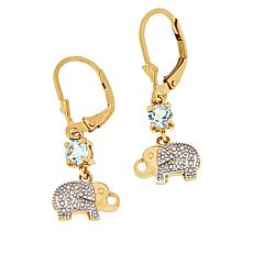 Technibond® Blue Topaz Diamond-Accented Elephant Drop Earrings