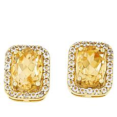Technibond® Citrine and White Topaz Halo Stud Earrings