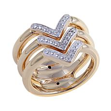 "Technibond® Diamond-Accented 3-Row ""Arrow"" Ring"