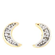 Technibond® Diamond-Accented Crescent Moon Stud Earrings