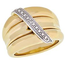 Technibond® Diamond-Accented Overlay Dome Band Ring