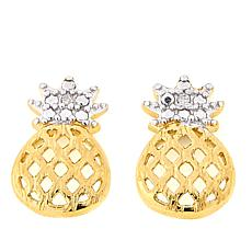 Technibond® Diamond-Accented Pineapple Stud Earrings