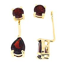 Technibond® Garnet Stud Earrings with Removable Ear Jackets