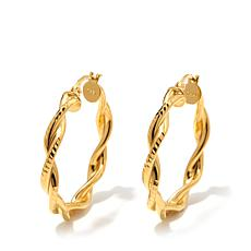Technibond® Polished and Diamond-Cut Twisted Hoops