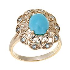 Technibond® Turquoise and Blue Topaz Ring