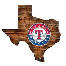 Texas Rangers 24in. Distressed State w/Logo Sign
