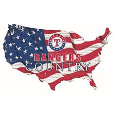Texas Rangers USA Shape Flag Cutout