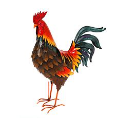 """The Gerson Company 19.5""""H Metal Garden Rooster Statue"""