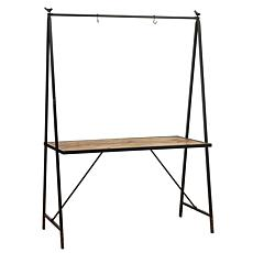 """The Gerson Company 80""""H Metal and Wood Outdoor Table with Hanging Rack"""