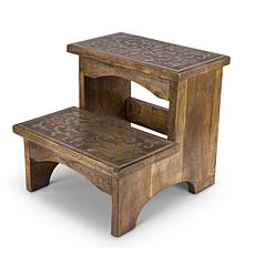The Gerson Company Heritage Collection Mango Wood and Metal Step Stool