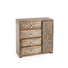The Gerson Company Mango Wood with Metal Inlay Heritage Jewelry Box