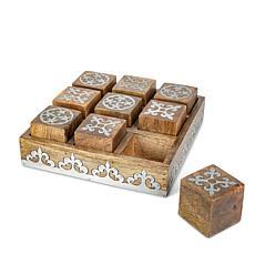 The Gerson Company Mango Wood w/Metal Inlay Heritage Tic Tac Toe Game