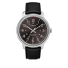 Timex Men's Basics Black Leather Strap Watch