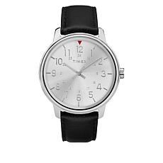 Timex Men's Basics Silvertone Dial Black Leather Strap Watch