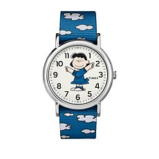 Timex Peanuts Lucy Moving Hands Blue Strap Watch
