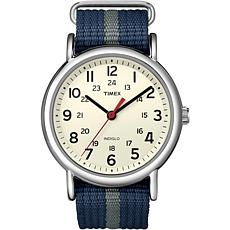 Timex Unisex Weekender Blue/Gray Nylon Slip-Through Strap Watch