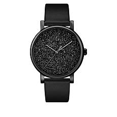 Timex Women's Crystal Dial Black Leather Strap Watch