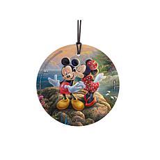 TK Disney StarFire Prints Glass Ornament-Mickey/Minnie Sweetheart Cove