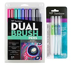 Tombow Water Brush Set with Galaxy Dual Brush Pens