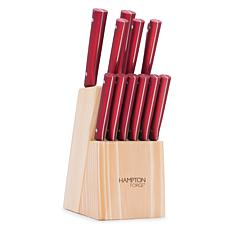 Tomodachi Genesis Red by Hampton Forge 13-Piece Knife Block Set