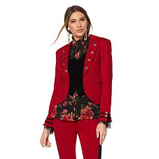 Touch of Cyn by Cyndi Lauper Crepe Blazer with Built-In Vest