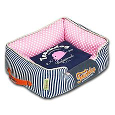 Touchdog Polka-Striped Polo Rectangular Easy Wash Dog Bed - Large