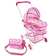"""Toy Time Deluxe Foldable Toy Pram for 18"""" Baby Dolls"""