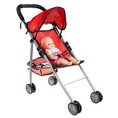 "Toy Time Foldable Stroller for 10"" Baby Dolls with Rear Basket"