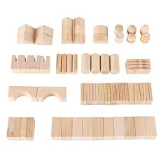 Toy Time Wooden Blocks Classic Building Set with Storage Bag, 65-piece